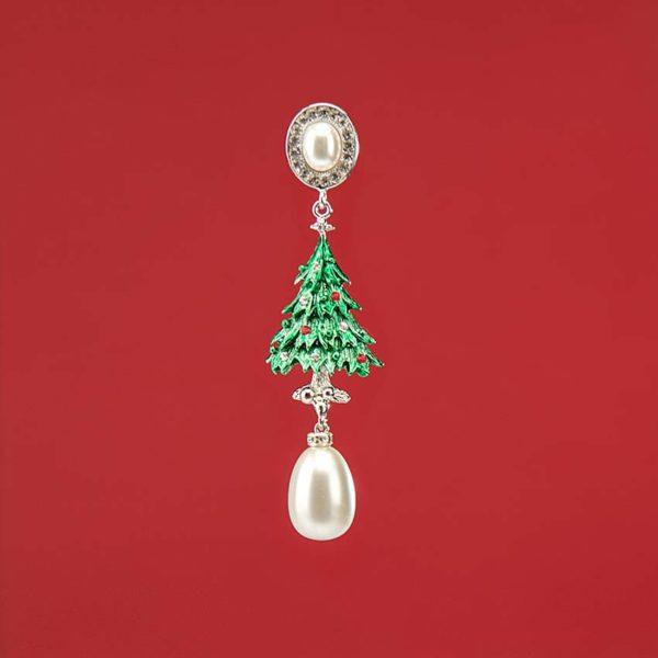 Orecchino perno albero Natale perle cristalli 3