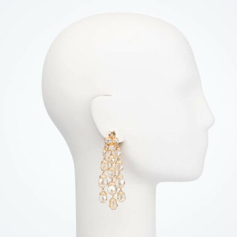 Orecchinoa clip cristalli champagne chiaro 1