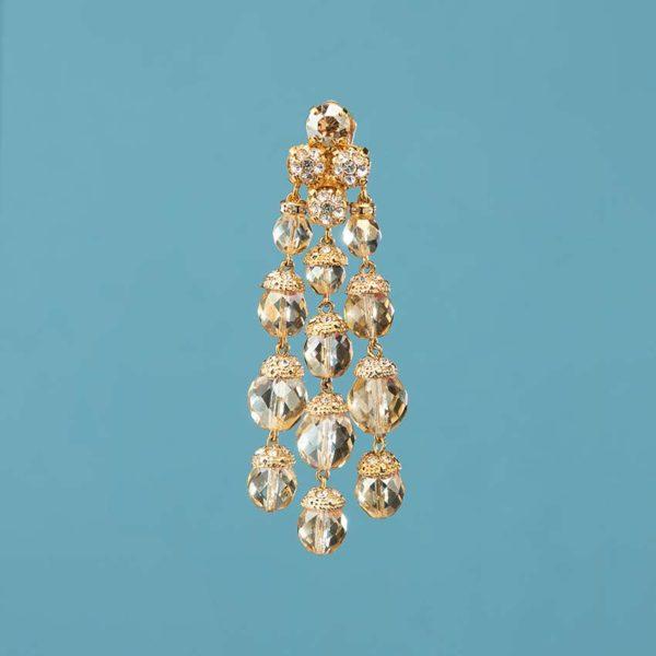 Orecchinoa clip cristalli champagne chiaro 3
