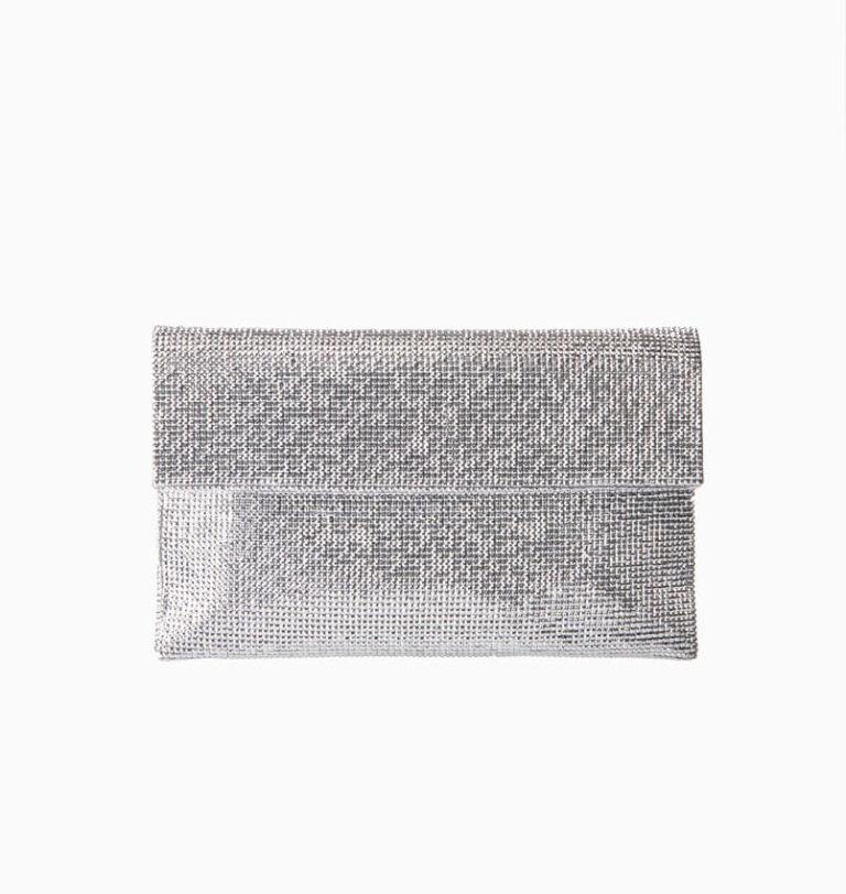 Pochette in tessuto di cristalli argento 4