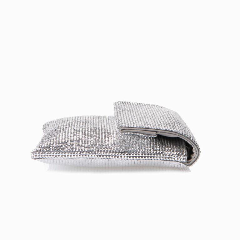 Pochette in tessuto di cristalli argento 3