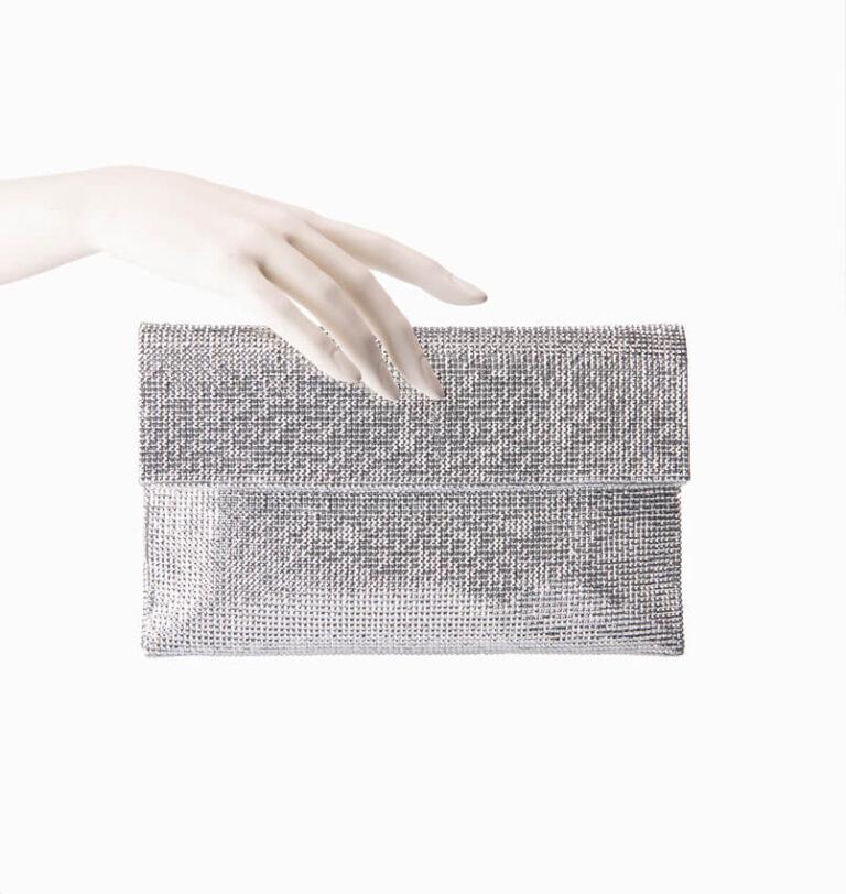 Pochette in tessuto di cristalli argento 2