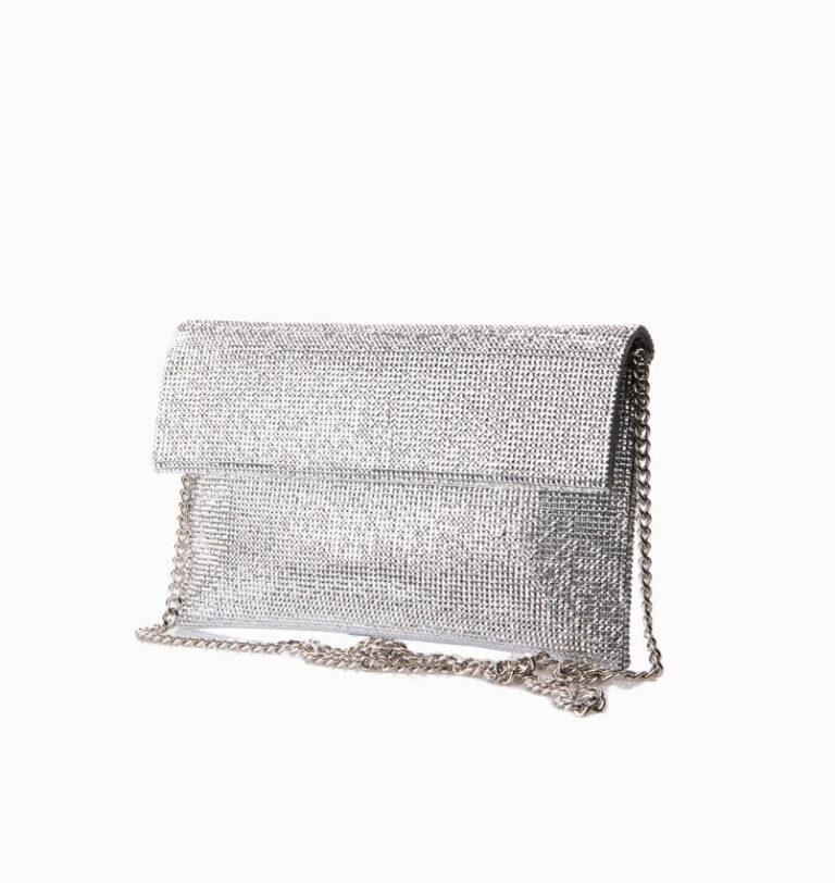 Pochette in tessuto di cristalli argento 1