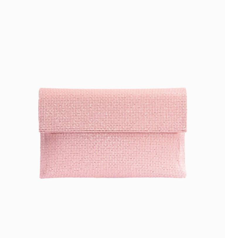 Pochette in tessuto di cristalli rosa