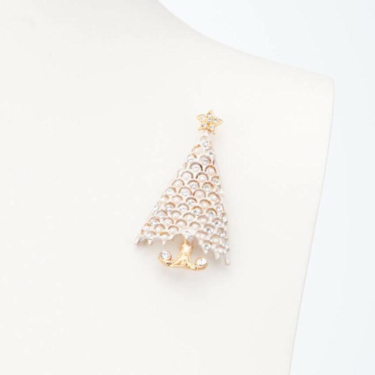 Spilla albero Natale bianco oro perle cristalli 1