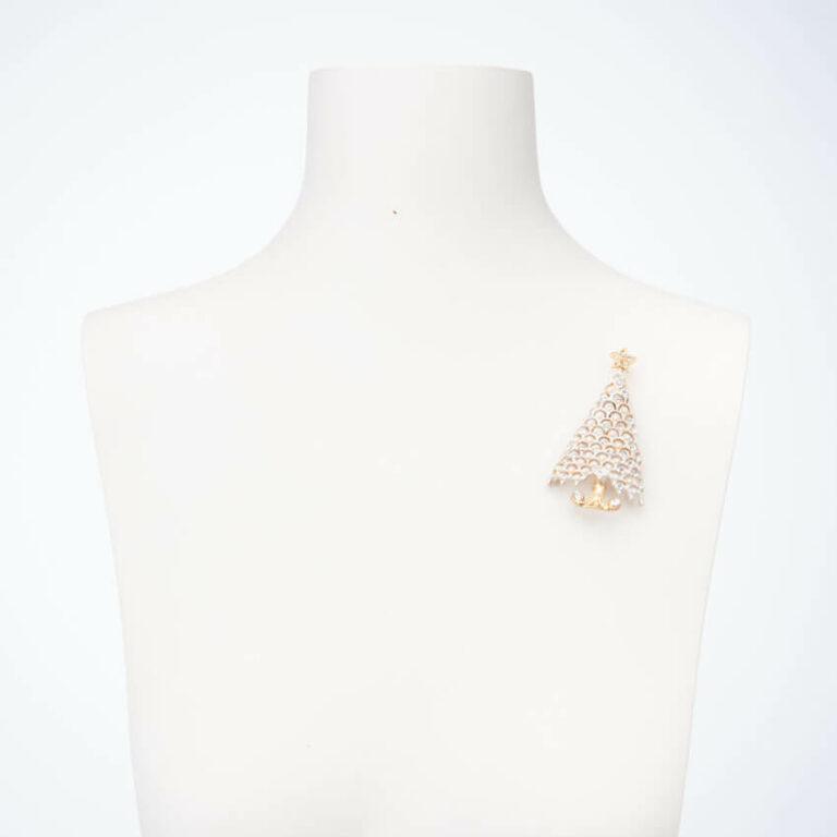 Spilla albero Natale bianco oro perle cristalli