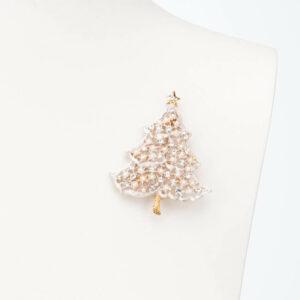 Spilla albero Natale bianco perle cristalli 1