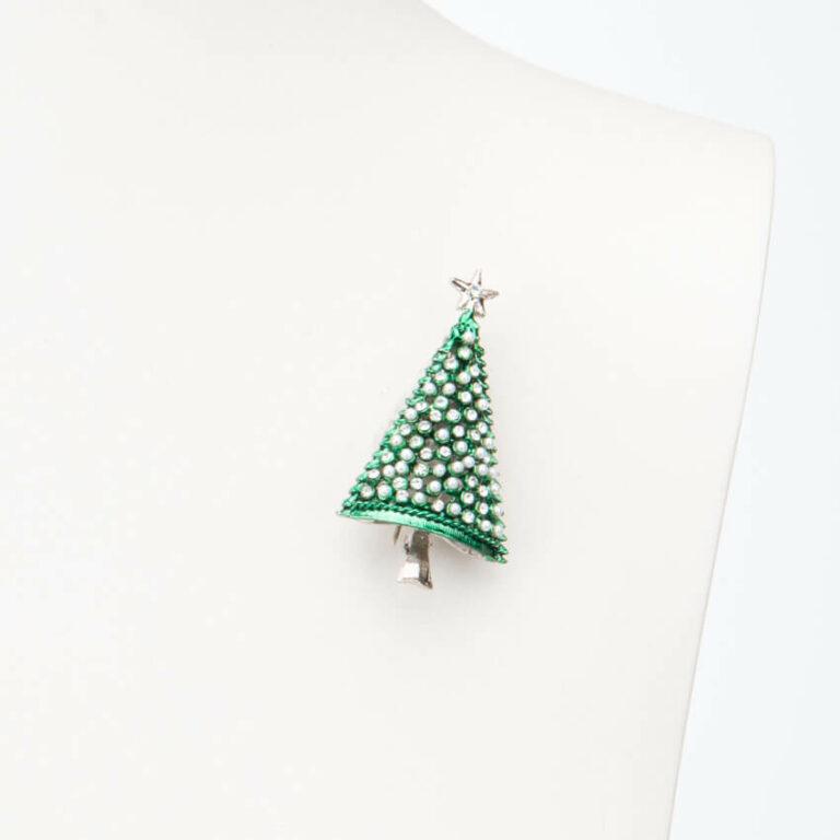 Spilla albero Natale verde argento perle cristalli 1
