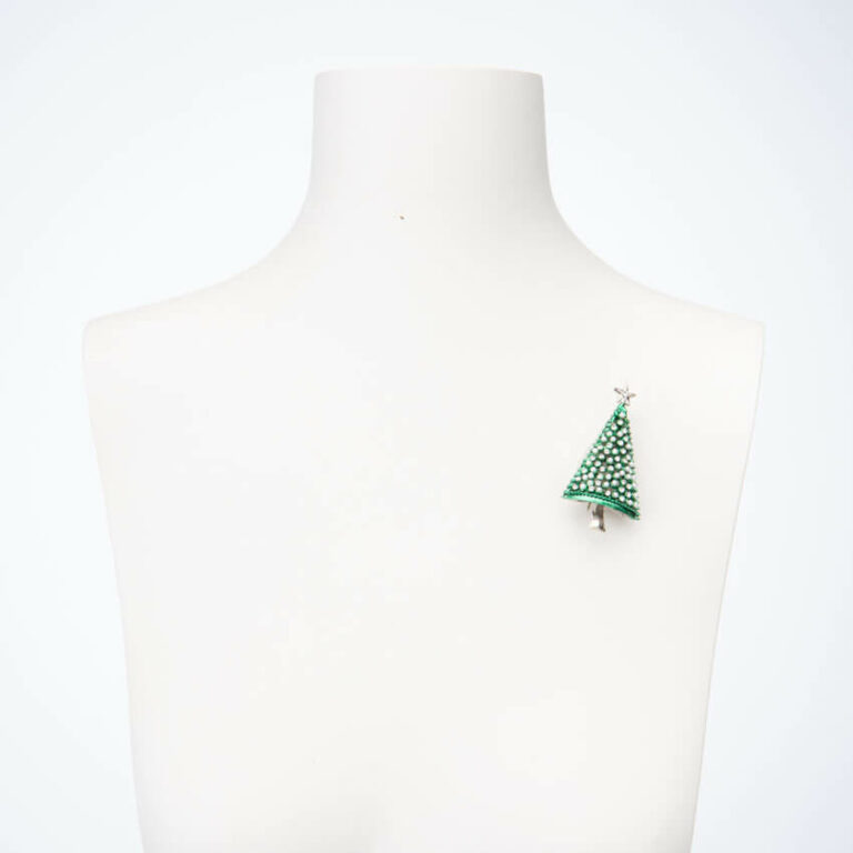Spilla albero Natale verde argento perle cristalli 2