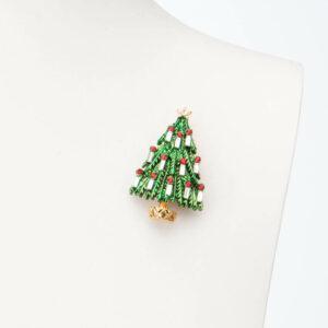 Spilla albero Natale verde candeline baguette 1