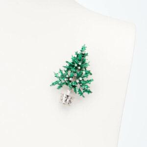 Spilla albero Natale verde perle cristalli 2