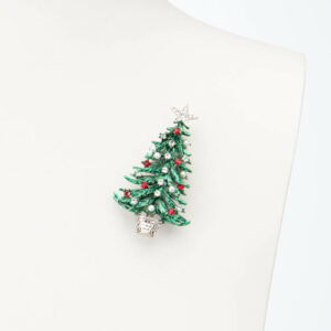 Spilla albero Natale verde rosso perle crystal 1