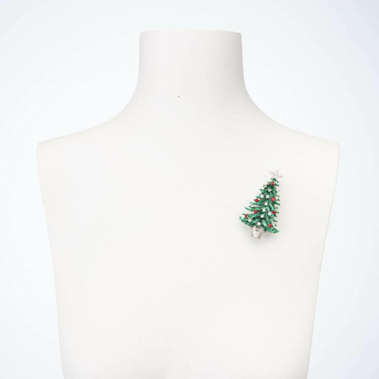 Spilla albero Natale verde rosso perle crystal 2