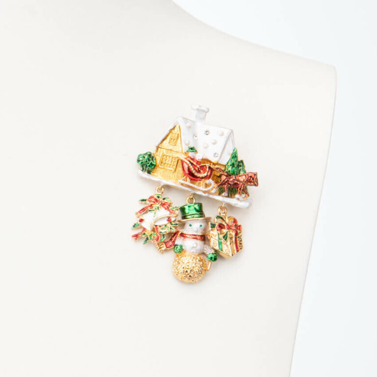 Spilla casetta Babbo Natale pupazzo neve 1
