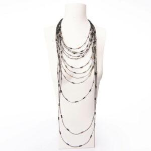 Collana design rete cristalli neri
