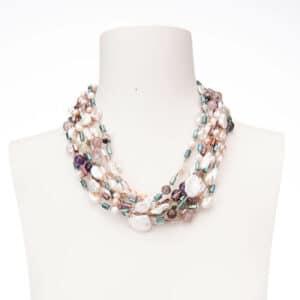 Collana multifili perle fiume agate cristalli