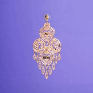 Orecchino chandelier arabesco colore oro 2