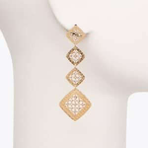 Orecchino perno geometrie oro cristalli 1