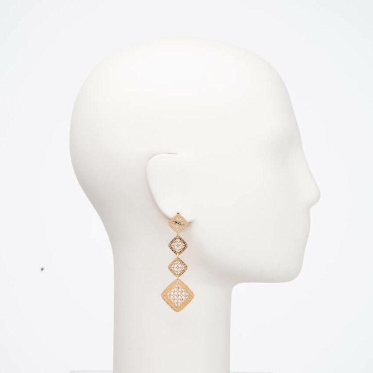 Orecchino perno geometrie oro cristalli 2