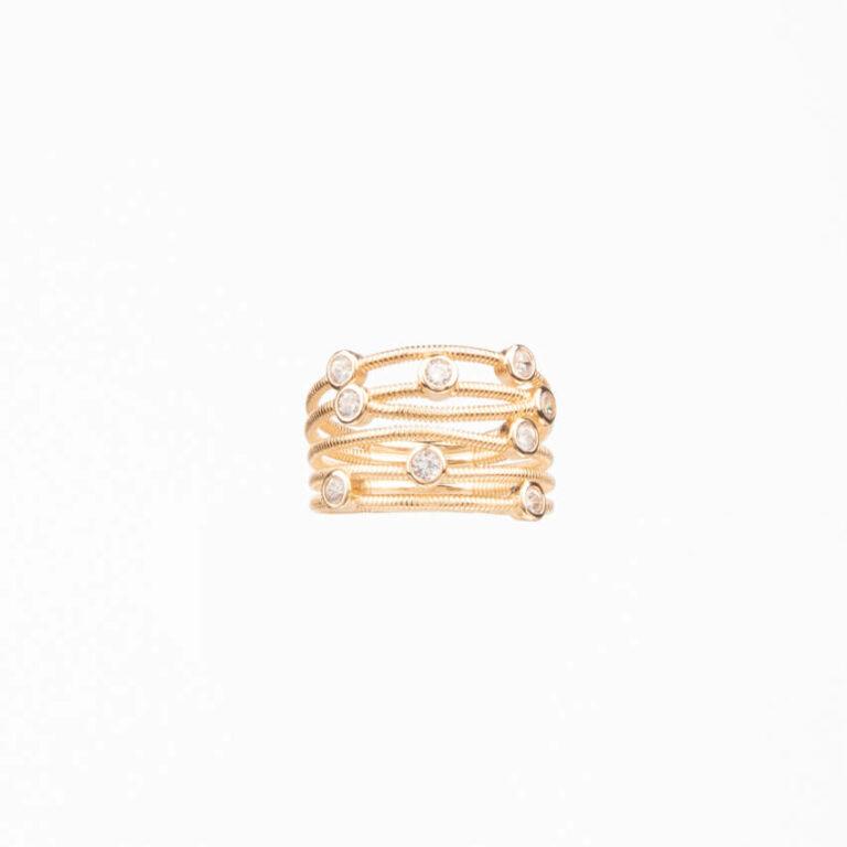 Anello a fascette oro intrecciate con zirconi bianchi 3