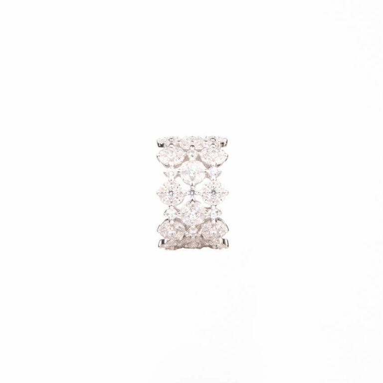 Anello a fascia a motivi floreali colore argento 3