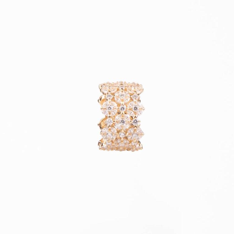 Anello a fascia a motivi floreali colore oro 4