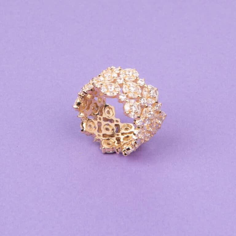 Anello a fascia a motivi floreali colore oro 5
