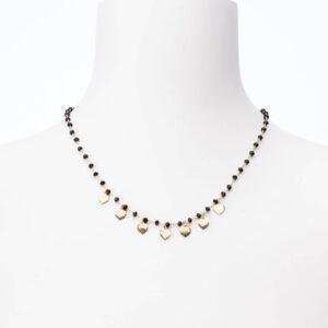 Catenina girocollo rosario agata nera ciondoli cuore oro