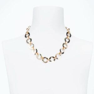 Collana girocollo catena anelli alternati argento placcato oro