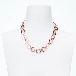 Collana girocollo catena anelli alternati argento placcato oro rosa