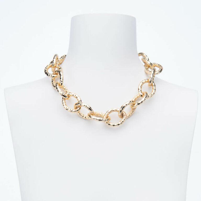 Collana girocollo catena groumette anelli battuti oro