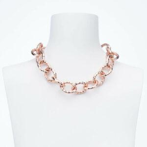 Collana girocollo catena groumette anelli battuti oro rosa