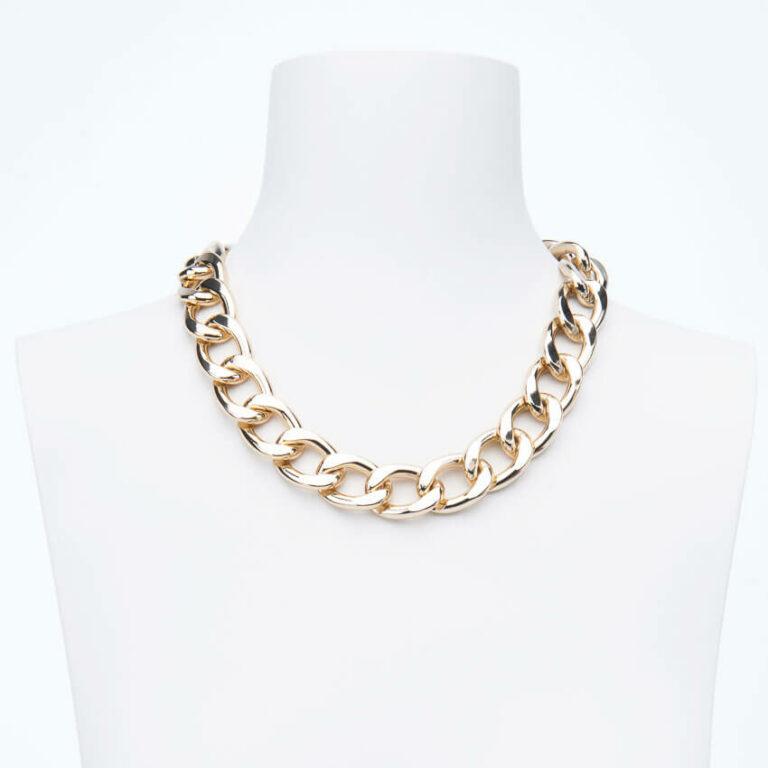 Collana girocollo catena groumette piatta placcata oro