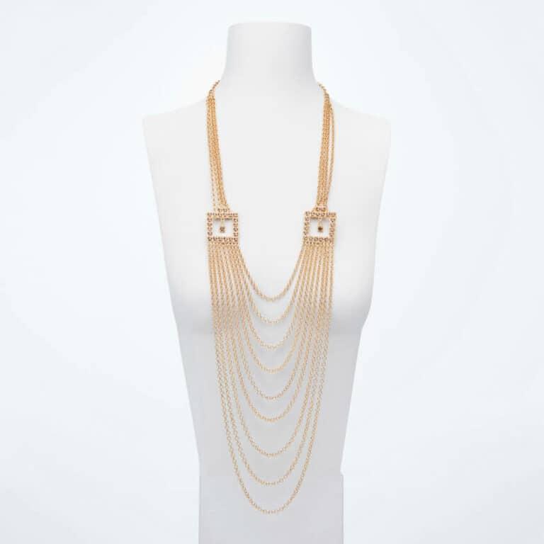 Collana lunga cascata catene cristalli oro topazio