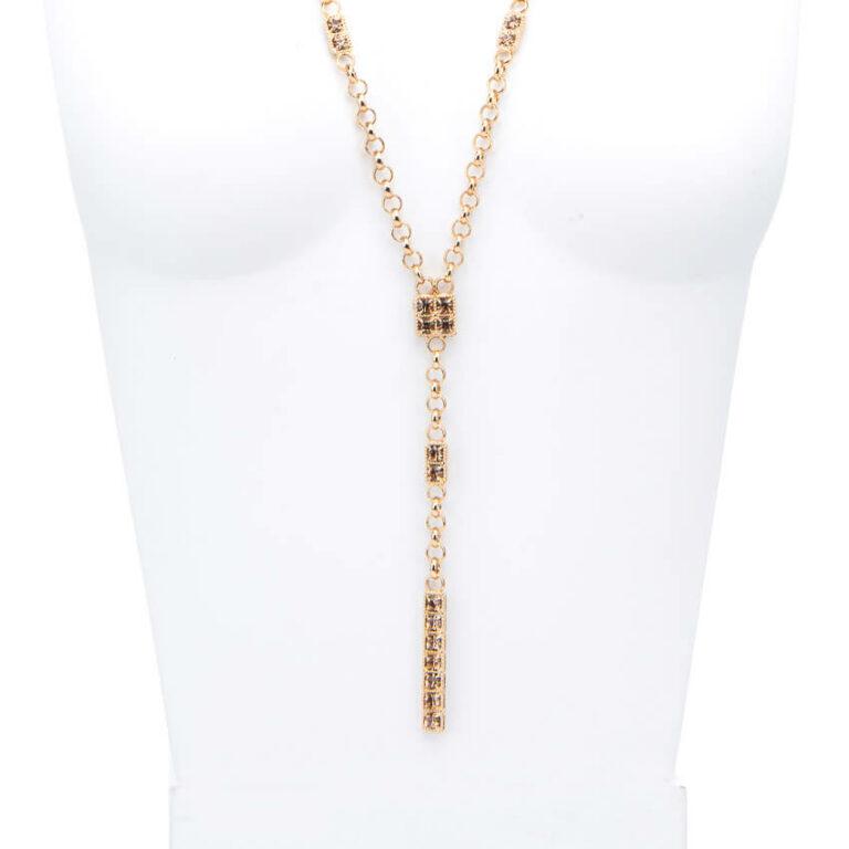 Collana lunga ciondolo cristalli oro topazio 2