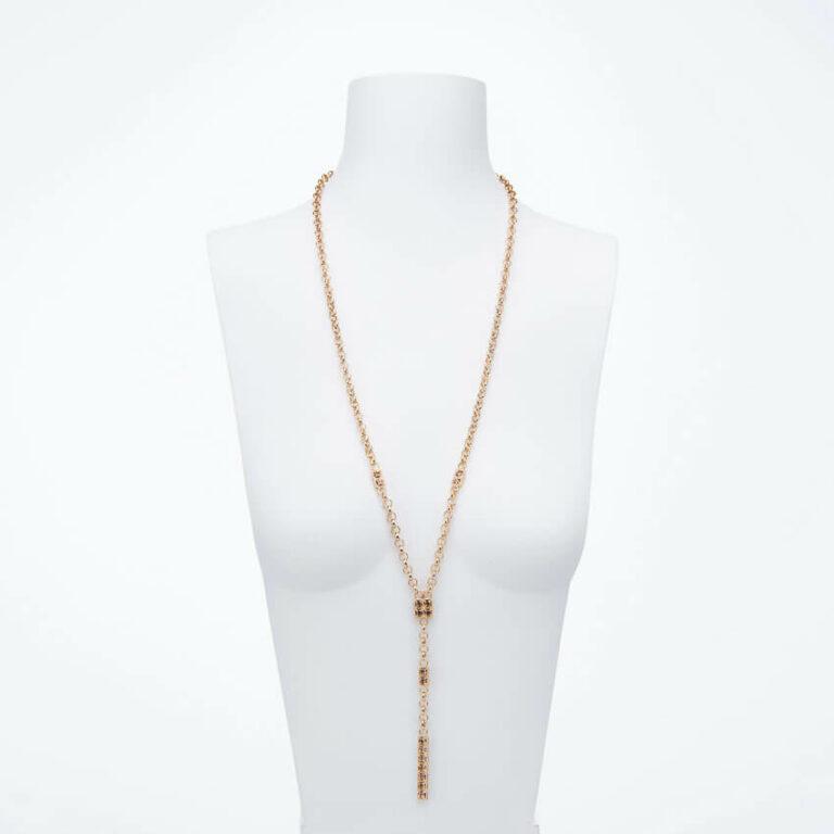 Collana lunga ciondolo cristalli oro topazio