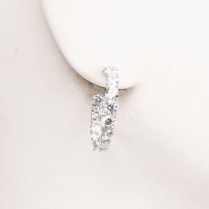 Orecchini cerchio perno zirconi crystal argento 1