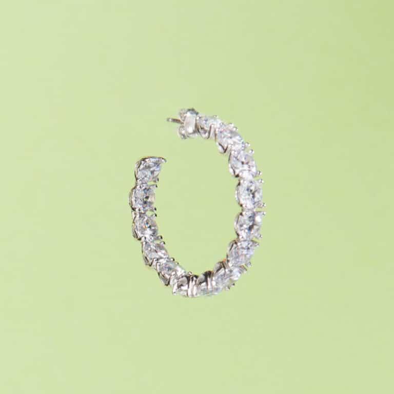 Orecchini cerchio perno zirconi crystal argento 3