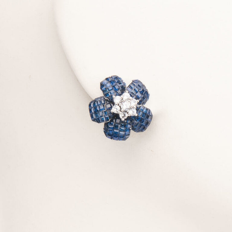 Orecchini clip fiore rosa antica blu argento