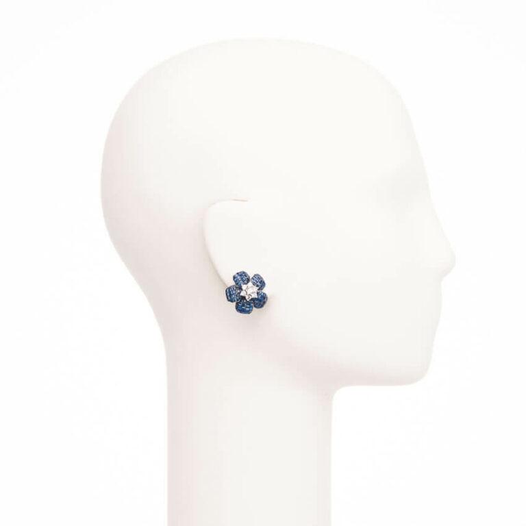 Orecchini clip fiore rosa antica blu argento 2