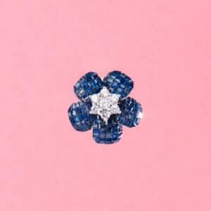 Orecchini clip fiore rosa antica blu argento 4