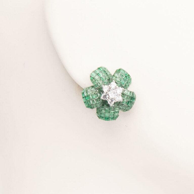 Orecchini clip fiore rosa antica verde argento