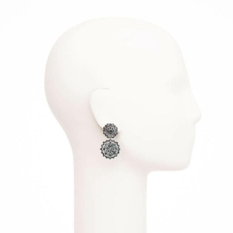 Orecchini perno cerchi merletto nero cristalli 2