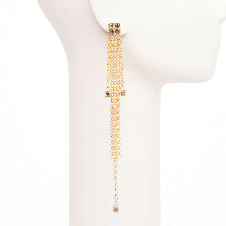 Orecchini perno pioggia catene cristalli oro 3