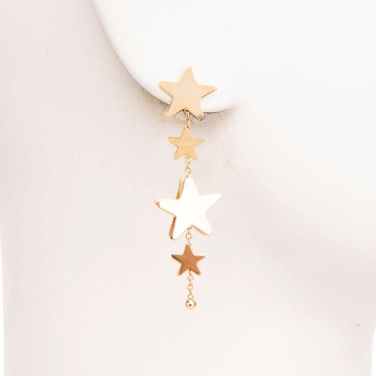 Orecchini perno stelle stelline argento placcato oro 3