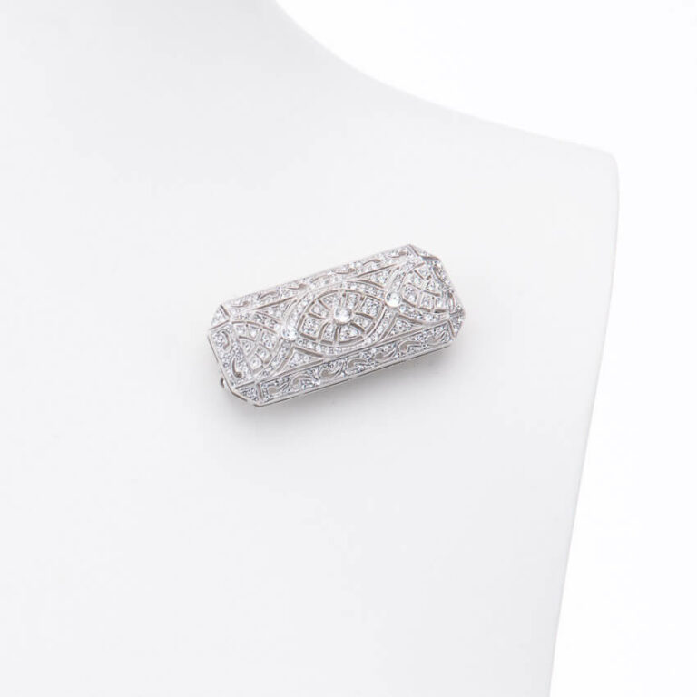 Spilla rettangolare stile liberty brillante centrale argento