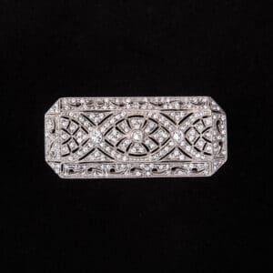 Spilla rettangolare stile liberty brillante centrale argento 3
