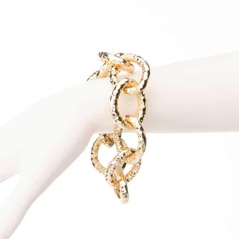 Bracciale catena anelli battuti placcato oro 2
