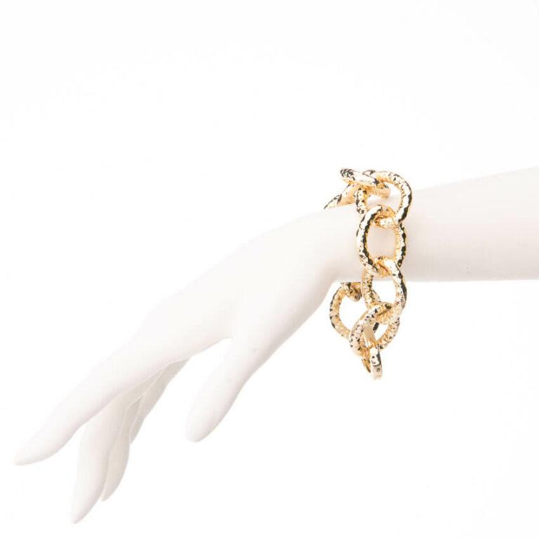 Bracciale catena anelli battuti placcato oro