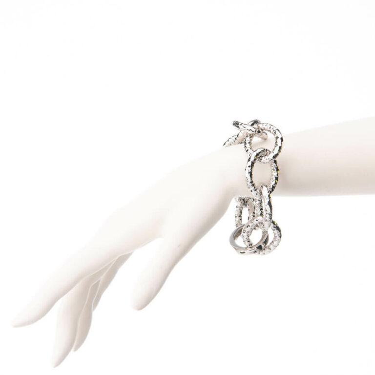 Bracciale catena anelli battuti placcato rodio